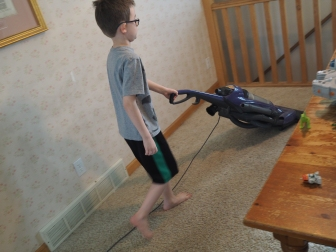 He loves vacuuming. If there's any sort of machinery involved, even something as mundane as a vacuum, he's interested in it.