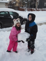 Snow is always fun, especially when there are big frozen chunks to carry around.