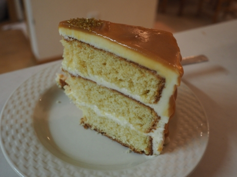 A slice of my half-birthday cake. Honey butter cake. Honey cream cheese frosting. Honey caramel sauce. Delicious.