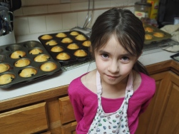 We made blueberry muffins this morning and she was an excellent assistant. She even got to make some without blueberries, just the way she likes them.