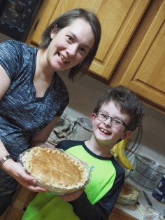 N celebrated by helping to make Cherry Berry Wonderland pies! He was very proud of his handiwork, and of course they tasted great!