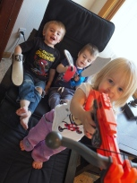 The younger kids have been playing with weapons a lot lately. They think that they're very fierce.