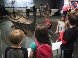 The Viking exhibit at DMNS is pretty cool. H particularly liked learning about Viking fashions - dyed clothing, jewelry and the like. The boys were more important interested in boats, armor and weaponry.