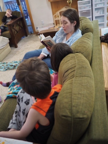 They don't seem to particularly care who reads to them, as long as they get to spend some time in a fun book.