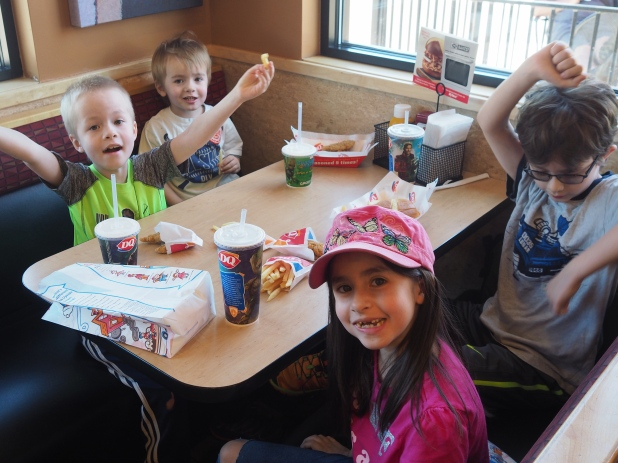 We don't eat out a lot, and when we do it's usually just fast food to eat in the car or at home. So eating in an actual restaurant (even a fast food joint) is a special event and a lot of fun. They enjoyed themselves immensely.