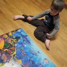 M loves puzzles. A whole lot. The kitchen is often covered with them, and although it makes a big mess he has a great time.
