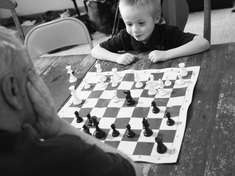 A said he wasn't going to go easy on his Papa, and he didn't. He also didn't win, but it was a very good game. His chess skills are improving rapidly.