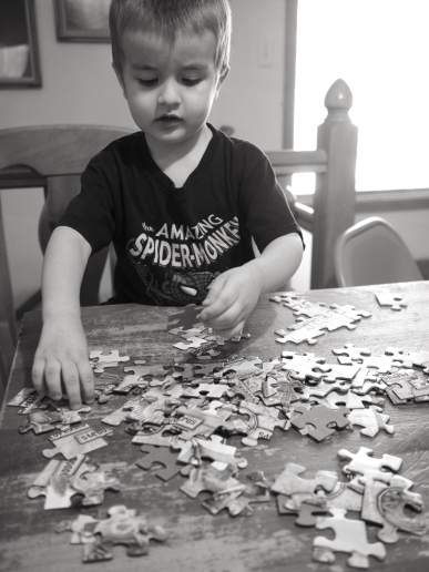 Well, maybe not a master yet, but he is very good at puzzles. More importantly, he has a lot of fun working on them.