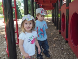"""The bigger kids spent time at the museum with Mrs. Hatter, so I took the little two to their favorite playground. M has taken to calling it his """"own personal playground."""""""