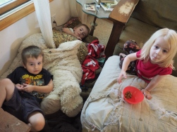 They felt like resting together, so they gathered up materials and built themselves a nest.