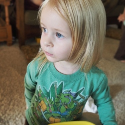 Her Teenage Mutant Ninja Turtle shirt is one of her favorites!