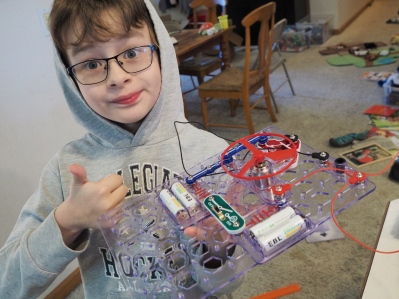 He loves building his own circuits!