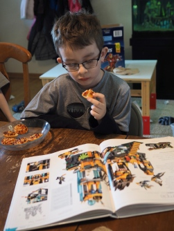 Pizza and a LEGO book. What could be better?
