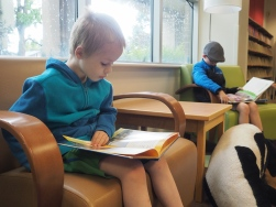 It was a cold and rainy day, so we headed down to the library and spent a while reading. Just the sort of morning I really enjoy.