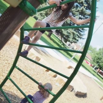 They both love climbing, and T is constantly trying to climb everything that her big sister can handle.