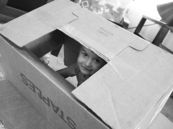 An empty cardboard box is a World of possibilities to a creative young mind.