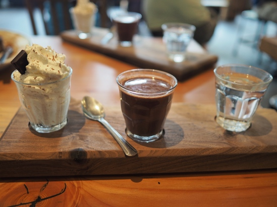 I went by Cup amd Bar a couple of times, and this time I ordered their drinking chocolate, which is served alongside whipped cream and sparkling water to offset the incredible richness of the chocolate itself. It was really, really delicious.