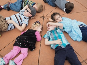 After walking around hte Longmont Chalk Art Festival and th Rose Garden, they just had to rest.