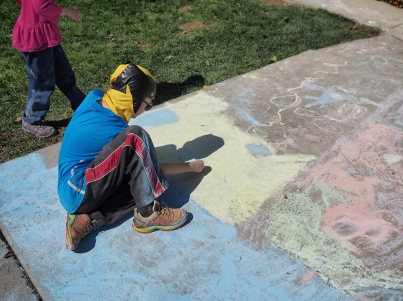 They've been discovering some techniques to smooth out their chalk art a bit.