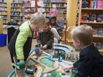 There's something for everyone at a book store. Granted, some of the kids were more Interested in playing with trains than browsing for reading materials, but that's okay.