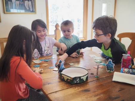 Naturally when some cousins came to visit the kids decided to pull out a favorite board game.