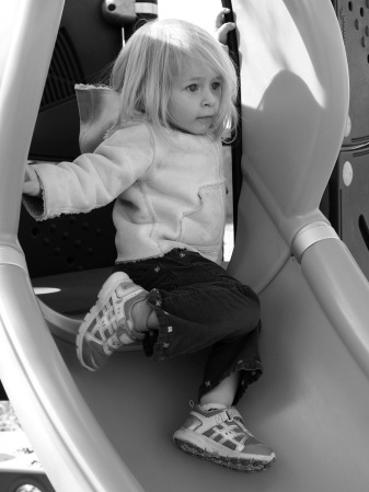 It's her favorite slide st her favorite playground. What could be a better way to spend the morning?