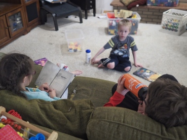 The boys asked H to read to them. I love how these kids enjoy books together.