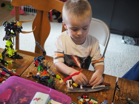 His entire morning was consumed by building his new LEGO sets. He's a very happy boy this morning.