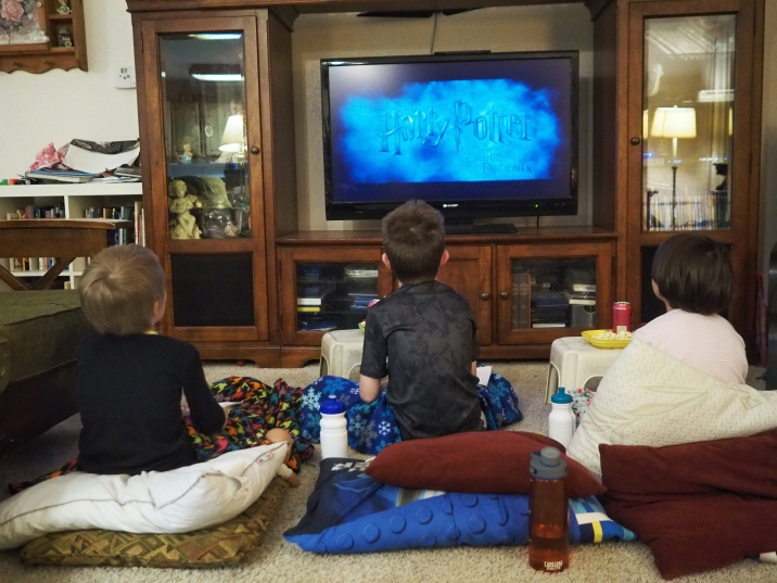 It's New Years Eve, which this year means candy, popcorn, and a movie! Our Potterheads are having a great time, and it's a fine way to end the year.