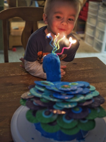 He loved his peacock cake more than he had words to express!