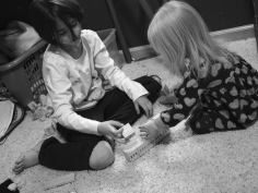 This morning I found these two sisters building their own version of the Great Wall Of China out of blocks. Unfortunately a rampaging brother found it a few moments later and left it in ruins.