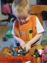 He loves building, with a wide variety of toys. Today it's all about LEGO.