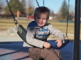 This is how he swings, and he loves it.