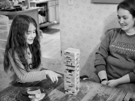 They had a great time playing Jenga together today.