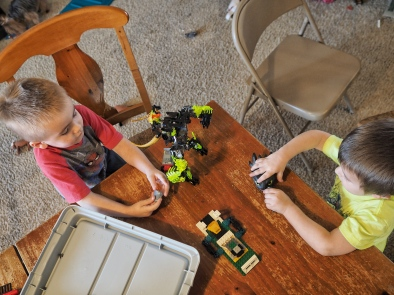 These two are still having lots of fun with their birthday LEGO sets, constantly building new creations and making up new games together.