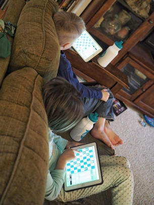 You might not be able to tell from this picture, but they're actually playing against each other. They seem to find it easier than actually setting up a physical board.